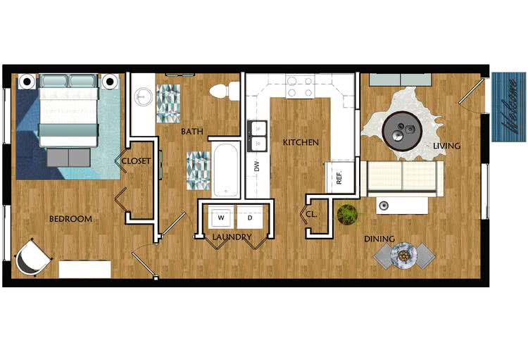 2D |   The Dugger contains 1 bedroom and 1 bathroom in 725 square feet of living space.