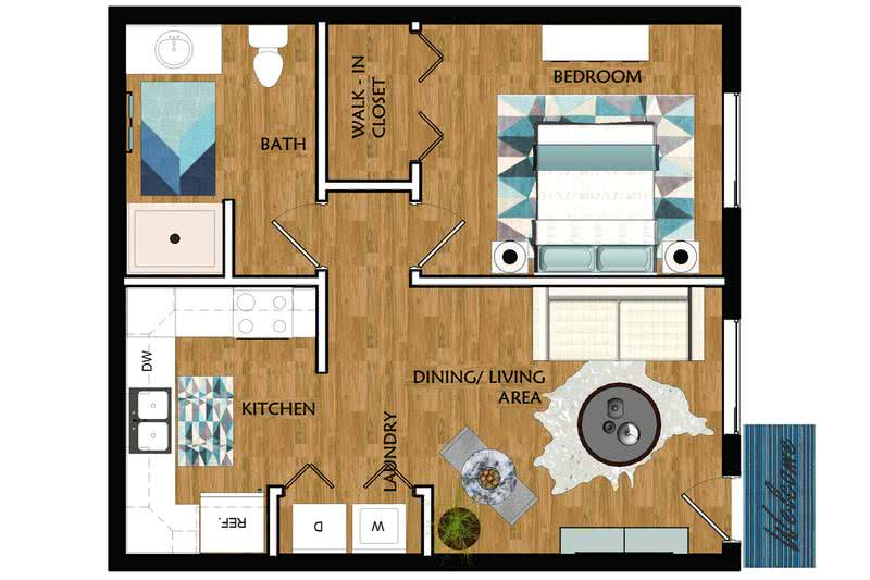 2D |  The Morton contains 1 bedroom and 1 bathroom in 550 square feet of living space.