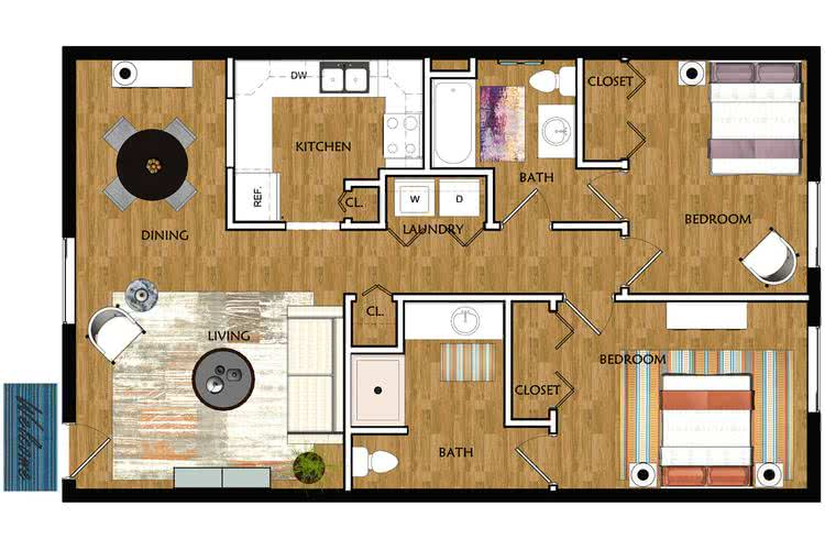 2D |  The Cheaha contains 2 bedrooms and 2 bathrooms in 975 square feet of living space.