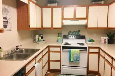 Kitchen | Spacious kitchens with ample cabinet and counter space and wood-style flooring.