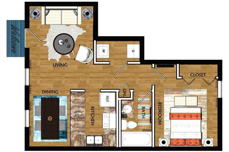 2D | The Birmingham contains 1 bedroom and 1 bathroom in 725 square feet of living space.
