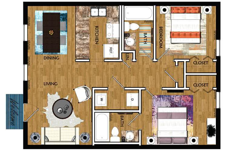 2D | The Huntsville contains 2 bedrooms and 2 bathrooms in 850 square feet of living space.