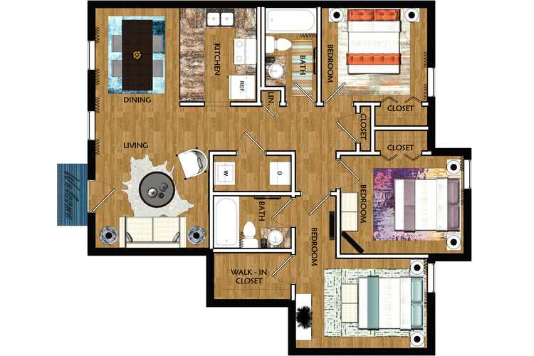 2D | The Montgomery contains 3 bedrooms and 2 bathrooms in 1150 square feet of living space.