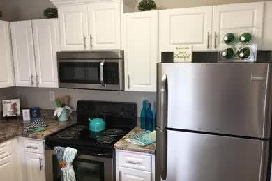 Stainless Steel Appliances | Our fully equipped kitchens comes with stainless steel appliances, including a dishwasher!