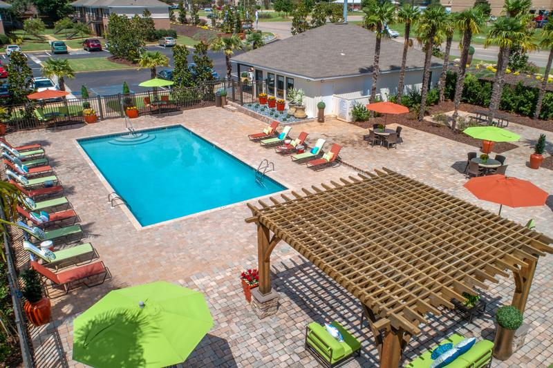 Pool Area | An aerial view of our pool area.