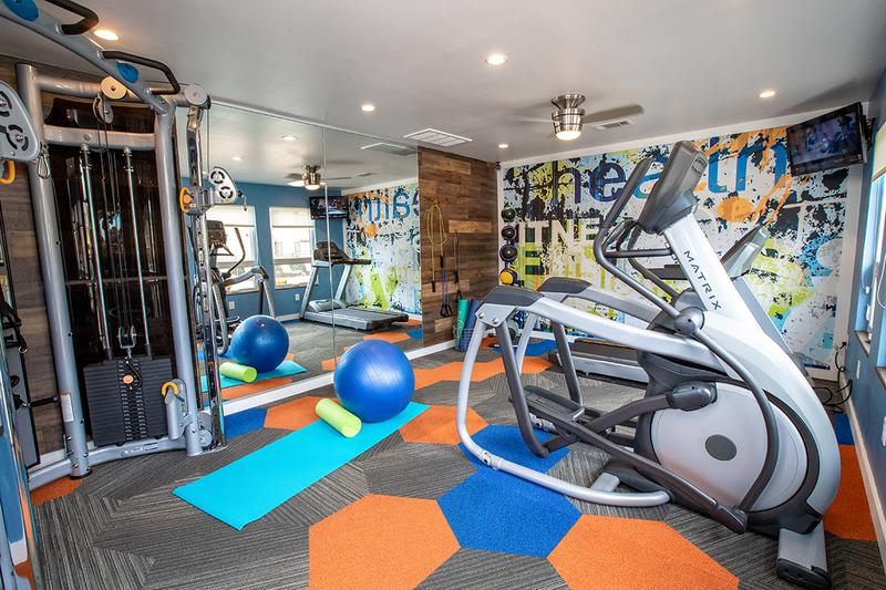 Fitness Center | Our resident fitness center is equipped with all the weight training & cardio equipment you need for a full body workout.