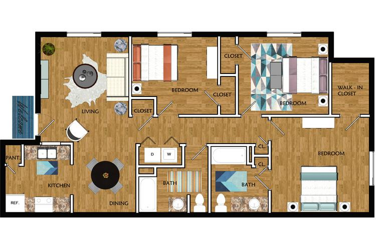 2D | The Flagstaff contains 3 bedrooms and 2 bathrooms in 1034 square feet of living space.