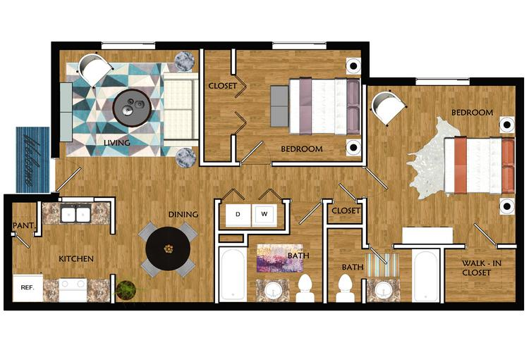 2D | The Tucson contains 2 bedrooms and 2 bathrooms in 933 square feet of living space.