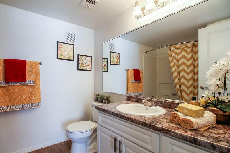 Bathroom | Spacious bathrooms featuring wood-style flooring, updating counter tops and large mirrors.