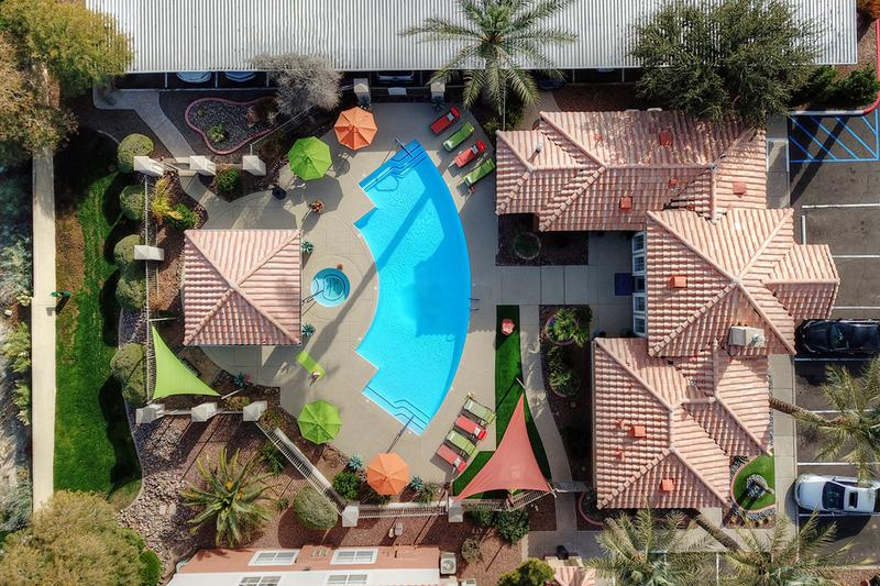 Aerial View of Sundeck | The residents can enjoy resort-style living right in their backyard with our luxurious pool and gazebo!