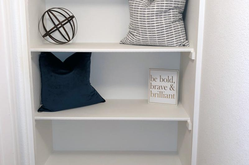 Linen Closet | Linen closets with built-in shelving.