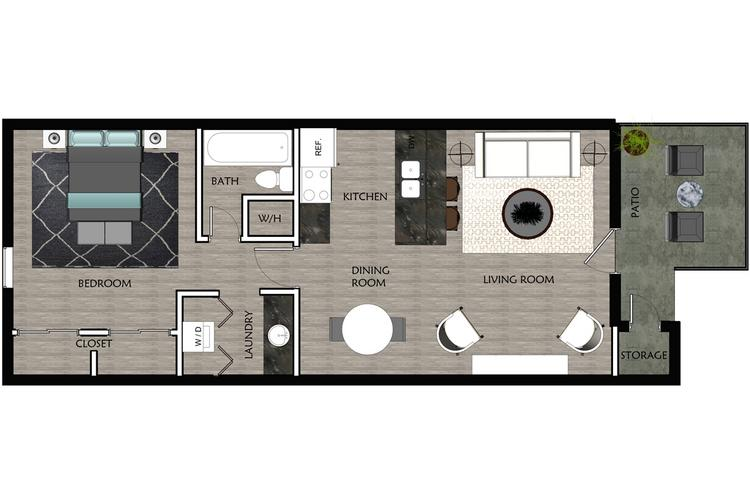 2D | The Anchor contains 1 bedroom and 1 bathroom in 590 square feet of living space.