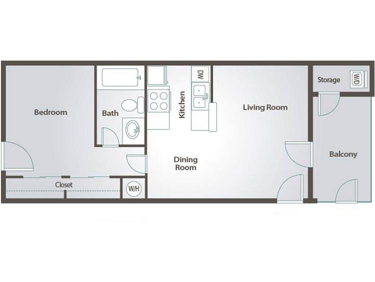 2D | The Beam contains 1 bedroom and 1 bathroom in 467 square feet of living space.
