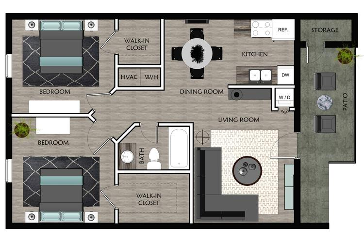 2D | The Captain contains 2 bedrooms and 1 bathrooms in 775 square feet of living space.