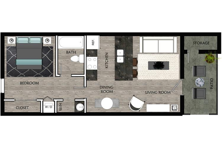 2D | The Helm contains 1 bedroom and 1 bathroom in 497 square feet of living space.