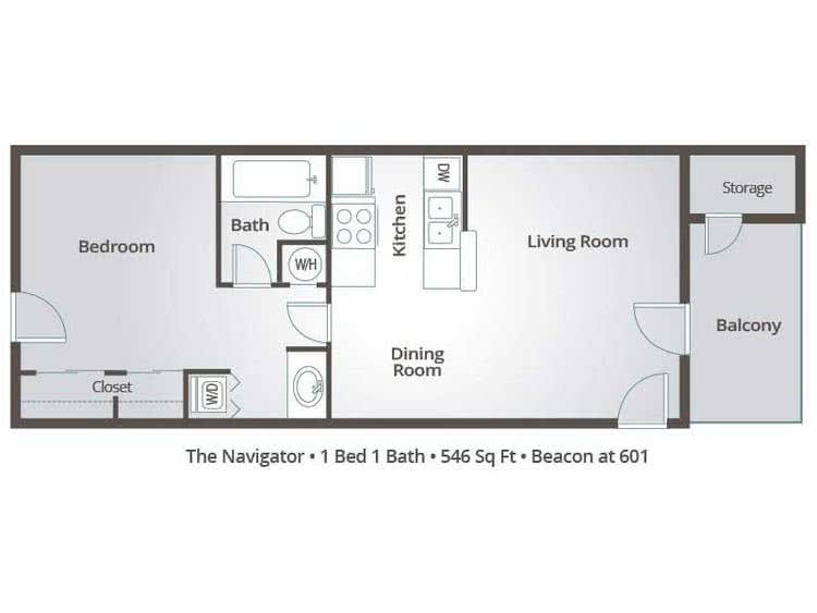 2D | The Navigator contains 1 bedroom and 1 bathroom in 546 square feet of living space.