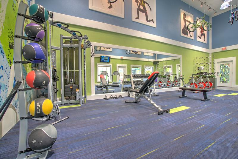 Free Weights | Our fitness center includes free weights.