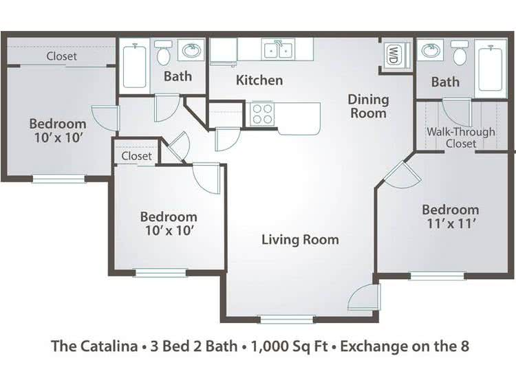 2D | The Catalina contains 3 bedrooms and 2 bathrooms in 1000 square feet of living space.