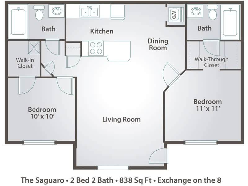 2D | The Saguaro contains 2 bedrooms and 2 bathrooms in 838 square feet of living space.