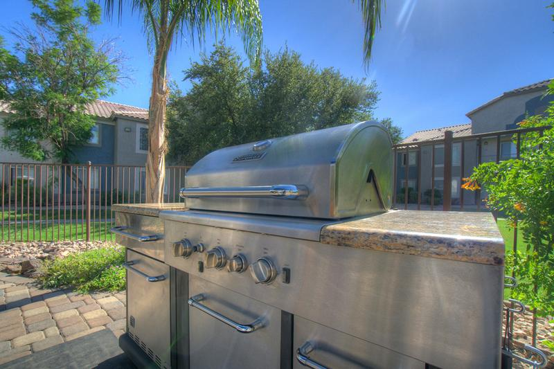 Gas Grill | Our poolside picnic area features a gas grill.