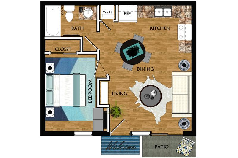 2D | The Avondale contains 1 bedroom and 1 bathroom in 413 square feet of living space.
