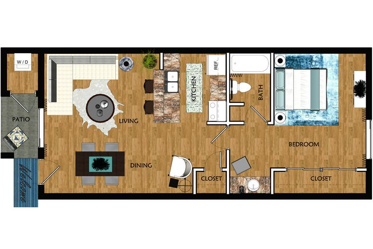 2D | The Chandler contains 1 bedroom and 1 bathroom in 538 square feet of living space.
