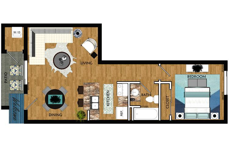 2D | The Glendale contains 1 bedroom and 1 bathroom in 565 square feet of living space.