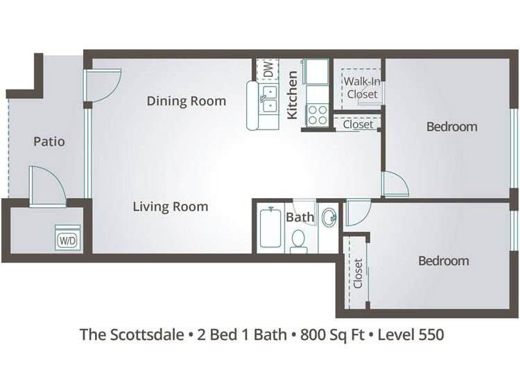 2D | The Scottsdale contains 2 bedrooms and 1 bathrooms in 800 square feet of living space.