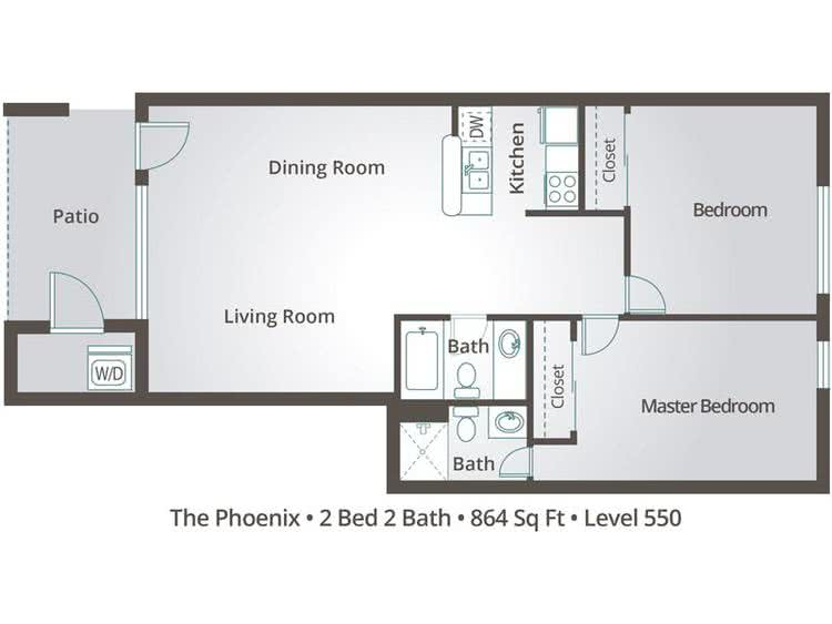 2D | The Phoenix contains 2 bedrooms and 2 bathrooms in 864 square feet of living space.