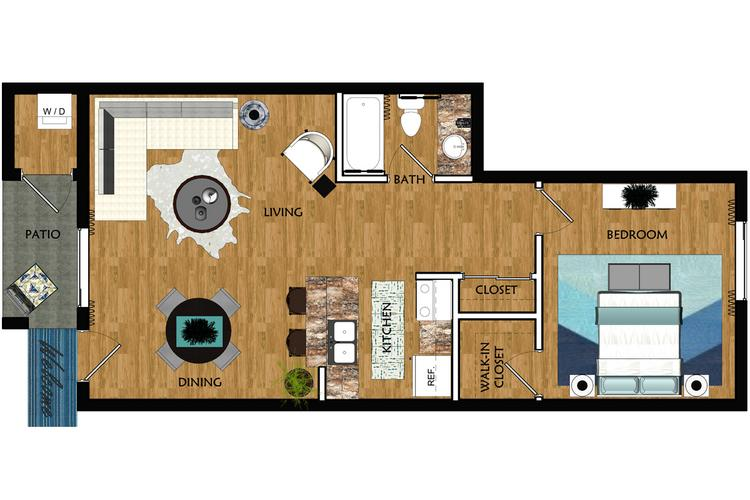 2D | The Tempe contains 1 bedroom and 1 bathroom in 624 square feet of living space.