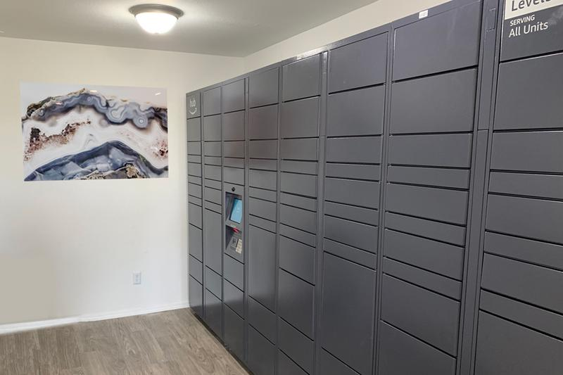 Amazon HUB Package Lockers | Your packages will be safe and sound in our new Amazon HUB package lockers. All packages will be delivered this hub. Residents will have their own code to retrieve their packages safely & securely.