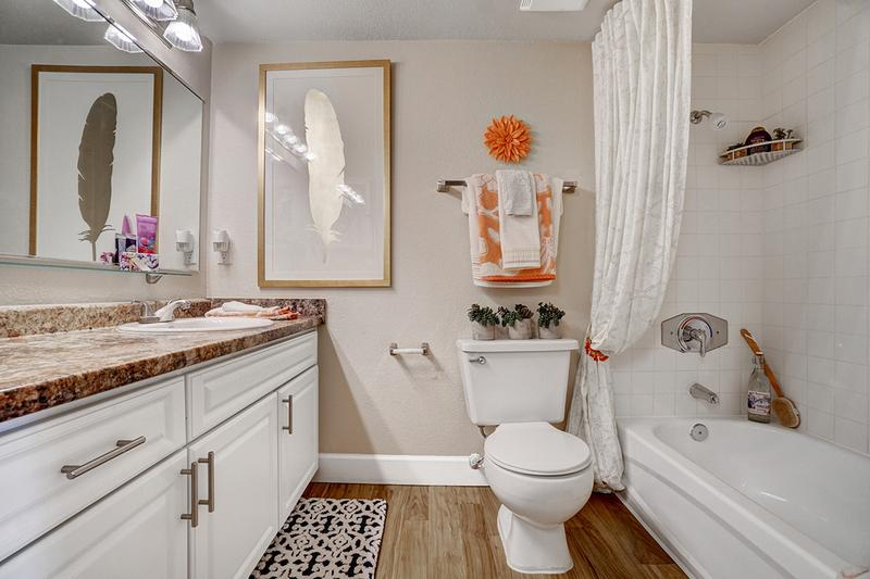 Bathroom | Newly remodeled bathrooms featuring updated counter tops, large mirrors and wood-style flooring.