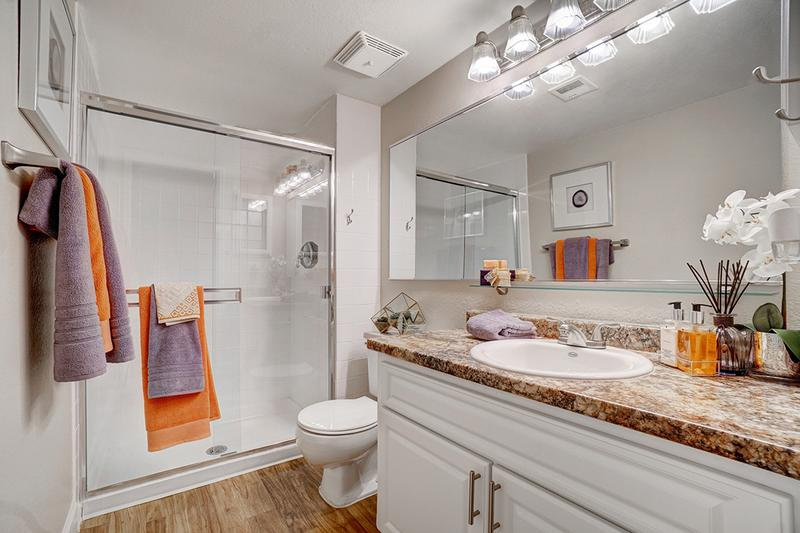 Master Bathroom | Master bathroom featuring wood-style flooring, oversized vanity, and large mirror.