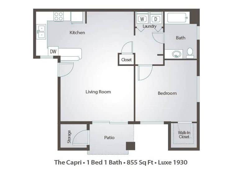 2D | The Capri contains 1 bedroom and 1 bathroom in 855 square feet of living space.