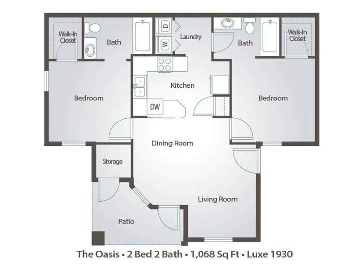 2D | The Oasis contains 2 bedrooms and 2 bathrooms in 1068 square feet of living space.