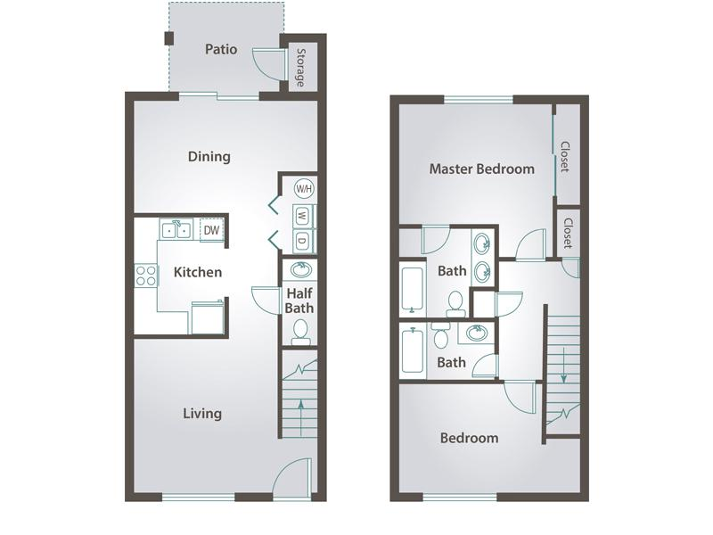 2D | The Cactus contains 2 bedrooms and 2.5 bathrooms in 1119 square feet of living space.