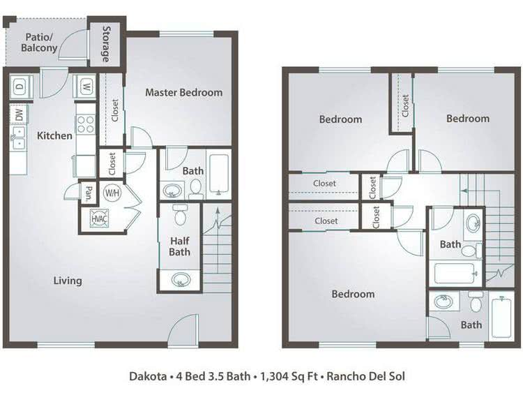2D | The Grand contains 4 bedrooms and 3.5 bathrooms in 1295 square feet of living space.