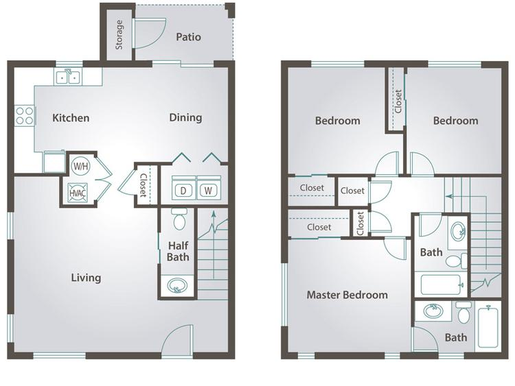 2D | The Olive contains 3 bedrooms and 2.5 bathrooms in 1190 square feet of living space.