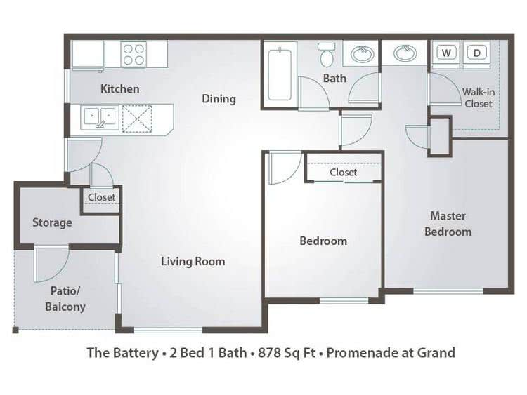 2D | The Battery contains 2 bedrooms and 1 bathrooms in 878 square feet of living space.