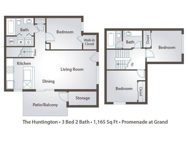 2D | The Huntington contains 3 bedrooms and 2 bathrooms in 1165 square feet of living space.