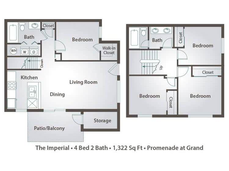 2D | The Imperial contains 4 bedrooms and 2 bathrooms in 1322 square feet of living space.