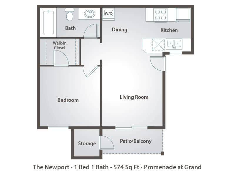 2D | The Newport contains 1 bedroom and 1 bathroom in 574 square feet of living space.
