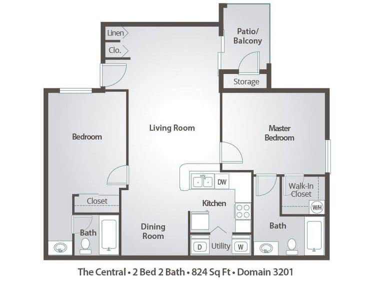 2D | The Central contains 2 bedrooms and 2 bathrooms in 824 square feet of living space.