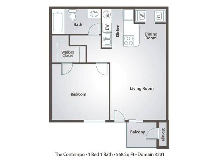 2D | The Contempo contains 1 bedroom and 1 bathroom in 568 square feet of living space.