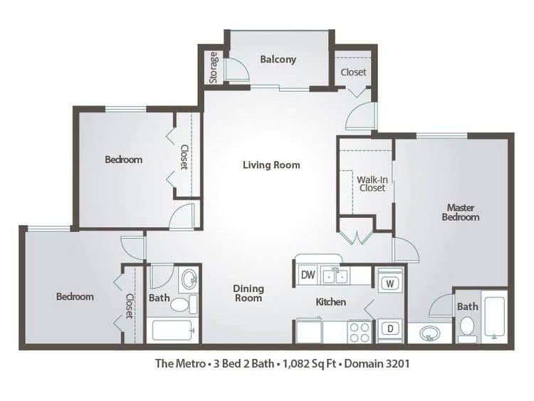 2D | The Metro contains 3 bedrooms and 2 bathrooms in 1082 square feet of living space.
