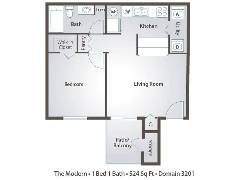 2D | The Modern contains 1 bedroom and 1 bathroom in 524 square feet of living space.