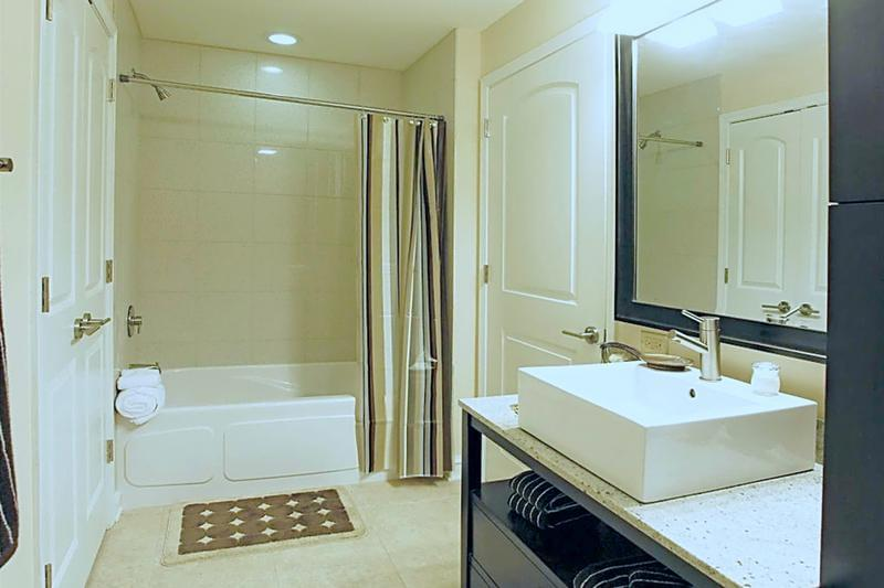 Bathroom | Newly renovated bathrooms featuring upgraded vanities and large soaker tubs.