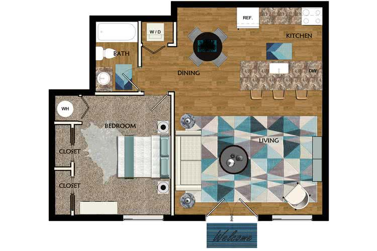 2D |  The Arcadian contains 1 bedroom and 1 bathroom in 734 square feet of living space.