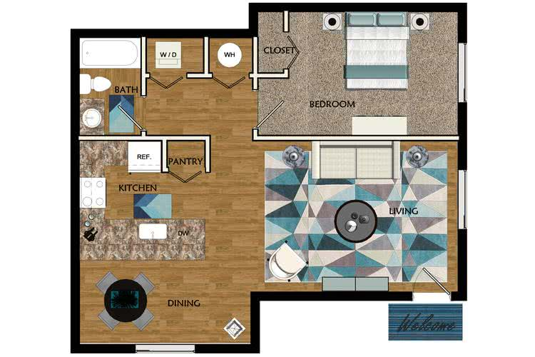 2D |  The Colonial  contains 1 bedroom and 1 bathroom in 727 square feet of living space.