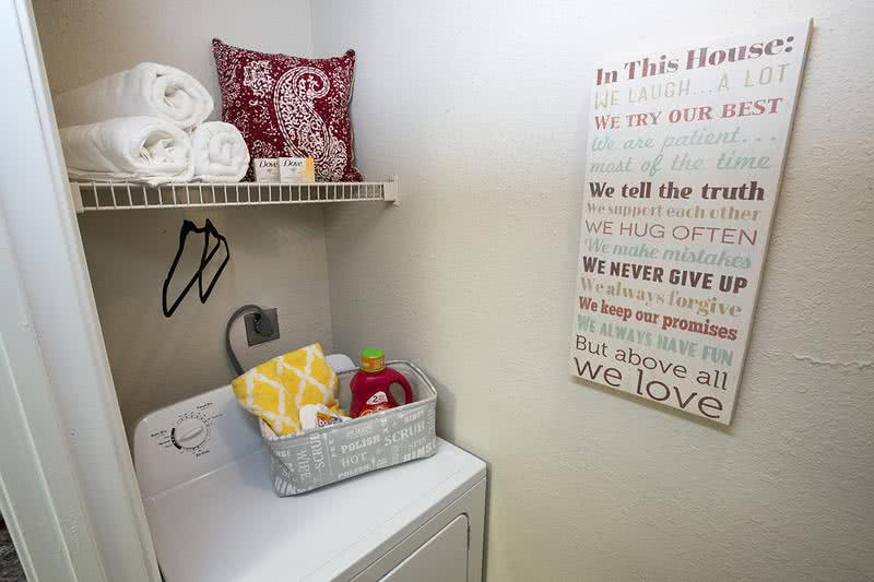 Laundry Room | All of our apartment homes include laundry rooms with washer and dryer connections.